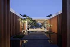 Magical entryway of the Tel Aviv home at sunset