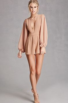 A woven romper by Selfie Leslie™ featuring a plunging neckline, long sheer sle. A woven romper by Selfie Leslie™ featuring a plunging neckline, long sheer sleeves with elasticized cuffs, pleated sho Retro Outfits, Sexy Outfits, Sexy Dresses, Short Dresses, Cute Outfits, Fashion Outfits, Womens Fashion, Fashion Fashion, Rompers Women