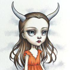 Taurus - Zodiac fille signé lowbrow pop surréalisme de 8 x 10 tirage d'Art par Mab Graves-sans cadre