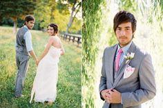 i like the grey tux Pink Grey Wedding, Dream Wedding, Wedding Suits, Wedding Attire, Grey Tux, Grey Vest, Pink Bow Tie, Tie Bow, Kids Bow Ties