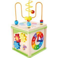"""Ideal pentru spațiile de joacă mici, """"Cub pentru activități diverse"""" dezvoltă abilitățile motorii ale copilului. Conceput cu o buclă de formare a abilităților motorii care poate fi scoasă, roți dințate, un ceas și un joc de puzzle. #montessori #kidstoys #jucariidinlemn #jucariionline#jucariieducative #activitycube #puzzle Baby Toys, Kids Toys, Activity Cube, Skill Training, Dado, Motor Activities, Wood Toys, Happy Kids, Fine Motor Skills"""