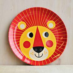 Lion melamine plate by Swedish Illustrator Ingela Arrhenius. Animal Plates, Animal Mugs, Illustrator, Kids Plates, Retro Kids, Messy Room, Swedish Design, Home Gifts, Gifts For Kids