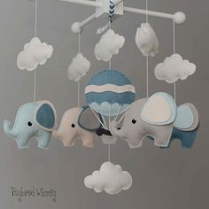 Elephant Mobile Hot Air Balloon Mobile Custom by TayloredWhimsy