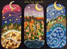 #nights #colours #moon #landscapes in #wood and #mixedmedia #mosaic, see more on FB https://www.facebook.com/pages/Silvia-Logi-Artworks/121475337893535?ref=br_rs