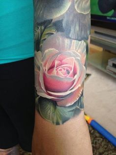 fresh realistic rose tattoo