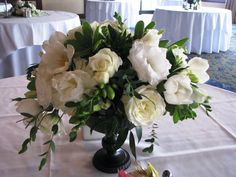 Flowers, Reception, White, Green, Centerpiece, Black, Rose, Elegant, Low, Peony, Freesia, Urn, Mocha rose floral designs, Greens