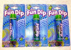 Fun Dip Candy Razz Apple Flavored Lip Balm Lip Gloss 3 Pack New Carded and Sealed