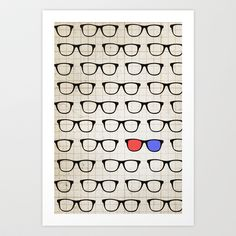 3D Hipster Art Print by Zeke Tucker - $15.60