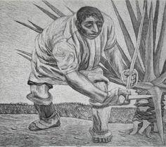 """Autor: Zalce, Alfredo. Título: """"HENEQUENERO"""". Técnica: Litografía. Dimensiones del papel 0.40 X 0.35 M., de la imagen 0.33 X 0.28 M. Esta pieza pertenece a la Carpeta """"Estampas de Yucatán""""."""