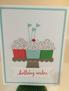 tampin' Up!'s Build a Birthday set. Also used the Cupcake Punch and Cherry on Top Designer Series Paper Stack Homemade Birthday Cards, Homemade Cards, Cupcake Card, Bday Cards, Stampin Up Catalog, Making Greeting Cards, Stamping Up Cards, Cool Cards, Kids Cards