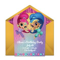 Free birthday party invitation showcasing a Shimmer and Shine design. Love this design for a Shimmer and Shine birthday party!