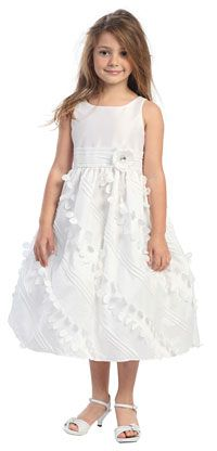 Flower Girl Dresses - Girls Dress Style 593- WHITE- Taffeta Dress with Floral Accents