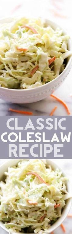 This Classic Coleslaw Recipe is a staple! If you are looking for the perfect coleslaw recipe, look no further because this is it! It is so easy and SO delicious!