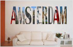 Muurtekst Amsterdam Originele tekst Amsterdam, letters gemaakt van foto's Amsterdam. Verkrijgbaar in diverse formaten bij www.muurstickerland.nl