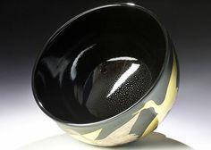 【古美味】七代高橋道八造 黒釉鶴之図茶碗 茶道具 保証品