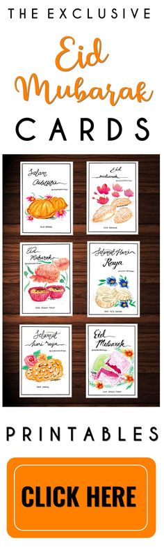 These 6 handmade Eid Mubarak cards are exclusively made to appreciate and reminisce on the unique Malaysian cultural heritage of traditional kuih raya (madeleines and cookies).  6 prominent traditional kuih raya featured are: - Kuih Loyang - Honeycomb cookies - Kuih Putu Kacang - Mung beans cookies - Kuih Bahulu - Egg sponge cake - Kuih Sarang Semut - Ant nest cookies - Kuih Makmur - Ghee cookies -Kuih Bunga Pudak - Grated Coconut Cookies  Get your unique Eid Mubarak Cards now!