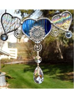 Stained Glass Suncatcher Heart Crystal Prism