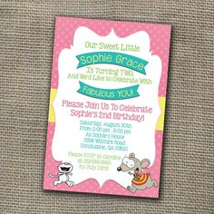 Toopy and Binoo Birthday Party Invitation  DIY by WorldOfThought, $10.00 Birthday Party Decorations, Birthday Party Invitations, Party Themes, Party Ideas, 2nd Birthday, Birthday Parties, Rsvp, Birthdays, Cards