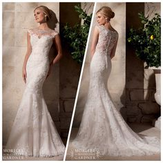 Mori Lee 2702 - gorgeous illusion neckline and back, with Swarovski crystals.  Beautiful lace appliqués and mermaid shape, Marry & Tux Bridal, Marry & Tux Bridal Shoppe, Marry & Tux Nashua, NH, Marry & Tux, Marry and Tux