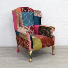 Reconstructed Wingback Armchair In Patchwork Designer Velvets Wingback Armchair, Geometric Fabric, Shop Up, Mineral Paint, Upcycled Furniture, Household Items, Upholstery, New Homes, Velvet