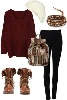 different kinds of boots and no backpack and bracelet