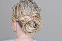 The Small Things Blog: Messy Bun with a Braided Wrap / wrapped braid. Easy low updo with shoulder length hair.  Video tutorial on the page. This is really cute. Need to try it.