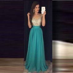 2016 Turquoise largo Prom vestidos Scoop una línea cremallera volver A través de la cintura con volantes con cuentas vestidos de graduacion largos