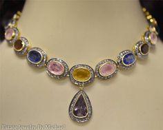 Victorian Multi-Color Sapphire & Diamond Lavalier Necklace