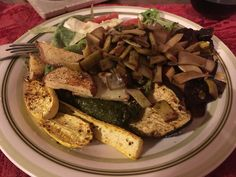 No room for meat today. Roasted Summer Squash, Squash Bake, Fried Potatoes, Fries, Veggies, Salad, Meals, Chicken, Salads