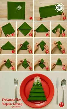 How to fold cloth napkins (or maybe just a large napkin) into Christmas trees! :) Christmas Dinner Decorations