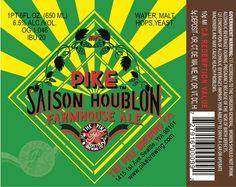 Cerveja Pike Saison Houblon, estilo Saison / Farmhouse, produzida por Pike Brewing, Estados Unidos. 6.5% ABV de álcool.