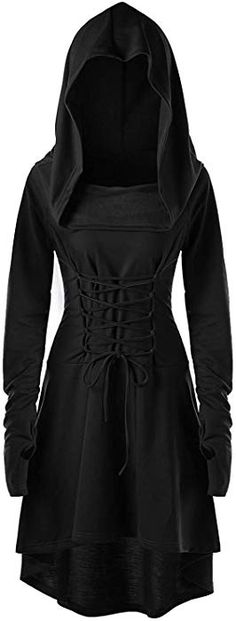 Amazon.com  Womens Hooded Robe Lace Up Vintage Pullover High Low Long  Hoodie Dress 5e2fd223f