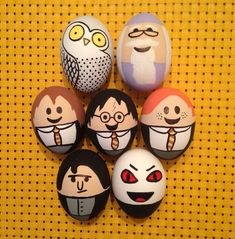 Easter eggs: Harry Potter and friends, hand painted by Carly Brown