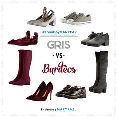 ¿¿ Qué os parece el #TrendsbyMARYPAZ de hoy ?? Este versus va de los colores de la temporada GRIS vs BURDEOS ¡¡ Enséñanos cómo los combinas!! BLUCHER VELVET ►https://goo.gl/0bfmxJ MOSQUETERA CHUNCKY ►https://goo.gl/L8xKF9 DEPORTIVA ►https://goo.gl/XkA6ZZ SALÓN PULSERA ►https://goo.gl/TjpgHp BLUCHER CHAROL ►https://goo.gl/twYvLq STILETTO ►https://goo.gl/bNidei BAILARINA ►https://goo.gl/QefmFi BOTA BLOQUE ►https://goo.gl/EB1i1B #SoyYoSoyMARYPAZ #Follow #winter #love #otoño #fashion #colou