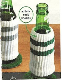 (super bowl idea?) sock beer koozies and artificial grass coasters DIY!