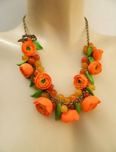 Hey, I found this really awesome Etsy listing at https://www.etsy.com/listing/183786685/roses-necklace-orange-necklace-summer
