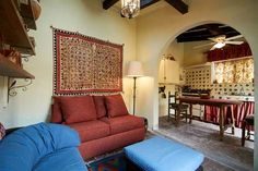 Casita living room and kitchen with hand-painted tile #agavesanmiguel #sanmiguelrealestate