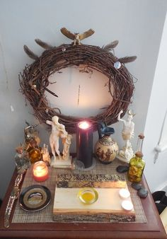 "lonelyspelltoconjureyou: "" frankincennamon: As promised, here are photos of my altar! This altar is focused mostly on Hermes. Crystal Altar, Crystal Magic, Wiccan Witch, Witchcraft, Wicca Altar, Mundo Hippie, Witch Room, Home Altar, Baby Witch"