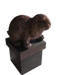 Dieren urn : Houten urn konijn bruin