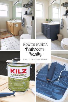 Best Paint For Bathroom, Diy Bathroom Vanity, Diy Vanity, Wood Bathroom, Budget Bathroom, Bathroom Colors, Bathroom Renovations, Bathroom Ideas, Small Bathroom