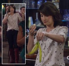 Robin's white bird print blouse with red boots on How I Met Your Mother.  Outfit details: http://wornontv.net/3838/