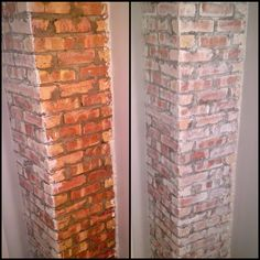 May 2016 - Whitewashed brick. Old exposed chimney in bathroom. 1 wire brush surface 2 mix paint and water 3 use paint brush to paint 4 dab with cloth before paint dries. So easy! Exposed Brick, Diy Fireplace, White Wash, Exterior Brick, White Wash Brick, Brick Chimney, Painting Chimneys, Fireplace, Painted Brick