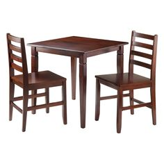 3 Piece Kingsgate Dining Table with 2 Hamilton Ladder Back Chairs Wood/Brown - Winsome