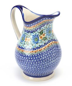 Navy & Blue Floral K Pitcher by Lidia's Polish Pottery  on zulily