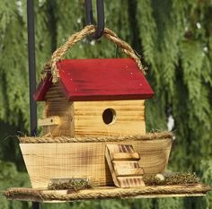 Amish Country Handmade Noah's Ark Rustic Birdhouse. Easy built in cleanout. Where could a bird feel more at home. What a great place for them to raise their young.