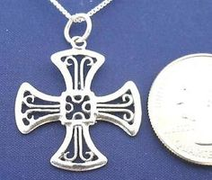 Maltese-Cross-18-034-Necklace-925-Sterling-Silver-Pendant-Chain-Easter-NEW-N42-C