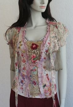 Baroquish --romantic dreamy top, textile art collage wearable art, with hand…