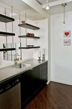 Brick Feature Wall, Espresso Kitchen, Radiant Heat, Bedroom Loft, Lofts, Toronto, The Neighbourhood, The Unit, Shelves
