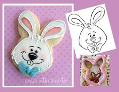 Easter Bunny Cookie with Wilton Cookie Cutter; guest blog post includes step-by-step instructions and link to free template