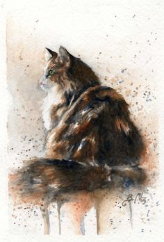 Nostalgia - Braden Duncan Fine Art - cat ~~ Memories of Grandma's beloved cats; Art Aquarelle, Art Watercolor, Watercolor Animals, Illustration Art, Illustrations, Cat Drawing, Animal Paintings, Beautiful Cats, Pet Portraits
